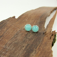 Amazonite Gemstone and Sterling Silver Stud Earrings