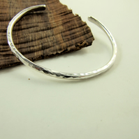 Sterling Silver Heavy Hammered Open Cuff Bangle