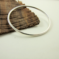 Sterling Silver Heavy Smooth Oval Bangle