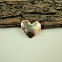 Small Heart Lapel Pin Brooch, Artisan Design Copper with Sterling Silver Accents