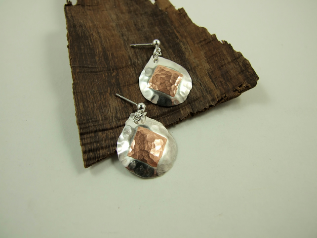 Earrings,  Sterling Silver with Copper Square Accents