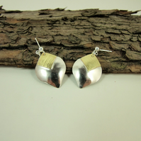 Earrings,  Sterling Silver with Brass Accents