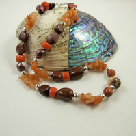 Statement Necklace, Earthy Tones, Jasper, Carnelian, Obsidian & Sterling Silver