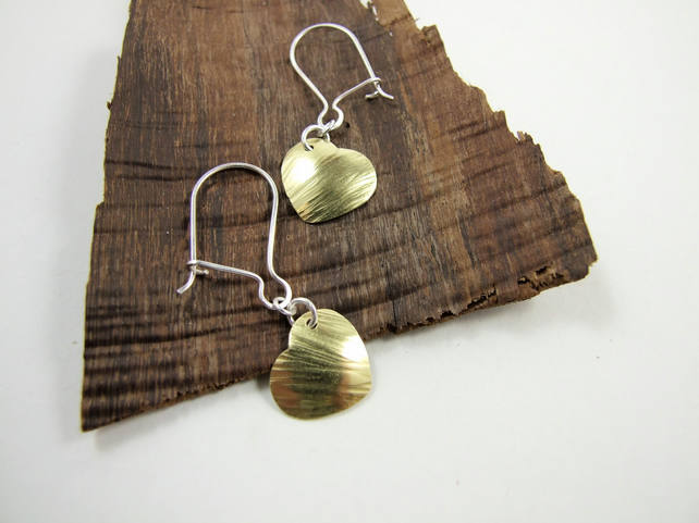 Earrings, Hammered Brass Hearts with Sterling Silver