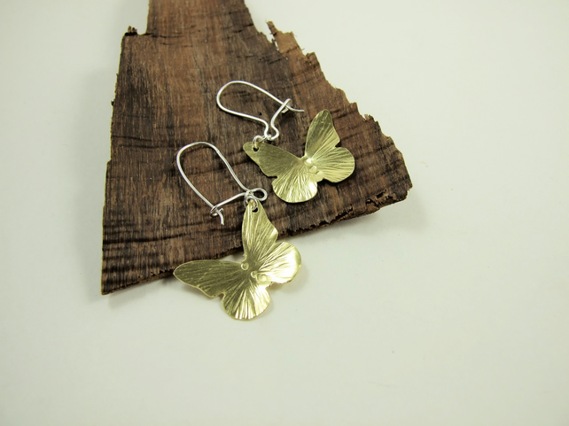 Earrings, Hammered Brass Butterflies with Sterling Silver