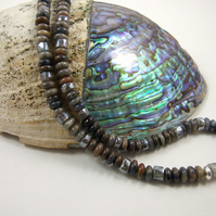 Labradorite and Dumortierite Gemstone Necklace with Sterling Silver