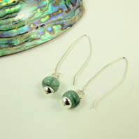 Earrings, Sterling Silver Long Drop with Natural Emerald Gemstones