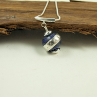 Necklace, Sterling Silver and Lapis Lazuli Spinner Pendant