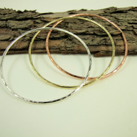 Bangles, Sterling Silver, Copper and Brass, Hammered Set of 3 Stacking Bangles
