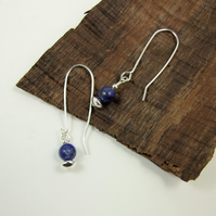 Earrings, Sterling Silver Long Drop with Lapis Lazuli Gemstones