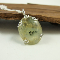 Peridot Necklace, Sterling Silver with Rutilated Peridot