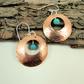 Earrings, Sterling Silver, Turquoise and Hammered Copper