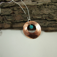 Sterling Silver, Necklace with Turquoise and Hammered Copper Open Disc