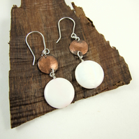 Earrings, Sterling Silver, Pale Pink Shell Disc and Hammered Copper