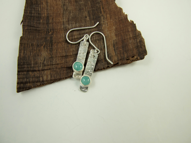 Sterling Silver and Mint Green Amazonite Dropper Earrings
