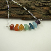 Sterling Silver Bar Pendant with a Rainbow of Gemstones