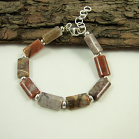 Bracelet with Crazy Agate and Sterling Silver, Orange Red and Earth Tones