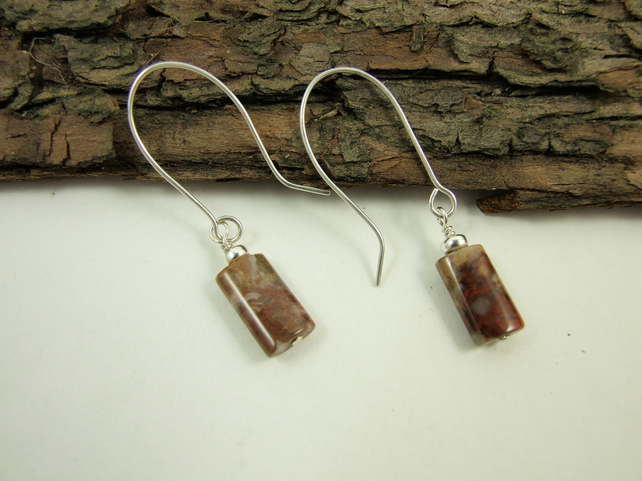 Earrings, Sterling Silver Long Drop Crazy Agate, Red Orange and Earth Tones