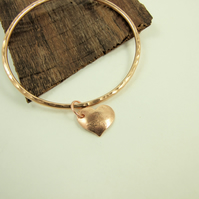 Bronze Oval Hammered Textured  Bangle with Heart Charm