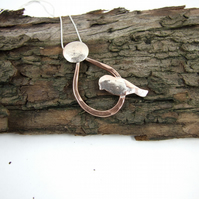 Little Bird and Moon Necklace, Sterling Silver and Copper, Unique Design