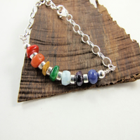 Sterling Silver Bar Bracelet with a Rainbow of Gemstones and Shell