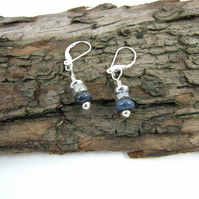 Sterling Silver Earrings Blue Dumortierite & Labradorite Gemstones
