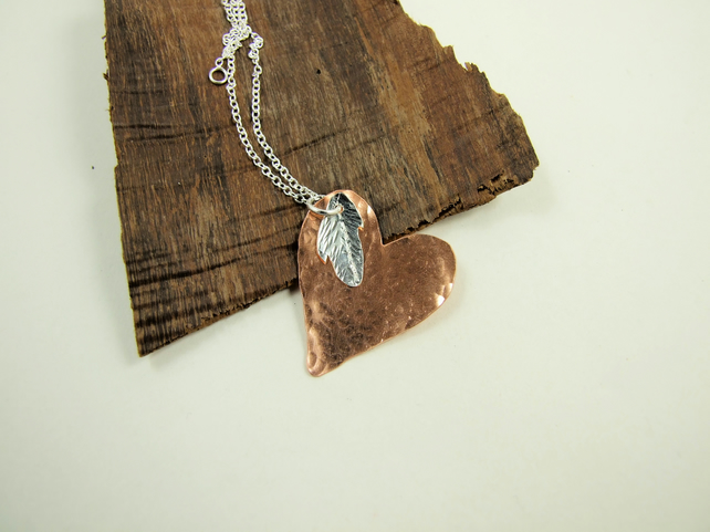 Heart and Feather Pendant Necklace, Copper and Sterling Silver, Angel Feather