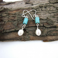 Earrings, Turquoise, Pearl and Sterling Silver