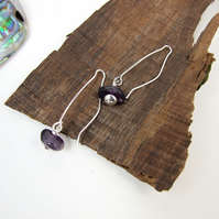 Earrings, Sterling Silver Long Drop with Amethyst Gemstones
