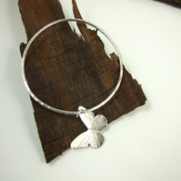 Sterling Silver Butterfly Charm Bangle