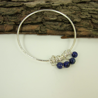 Sterling Silver and Lapis Lazuli Charm Bangle