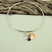 Sterling Silver Hammered Bangle Angel Feather and Copper Heart, Keepsake