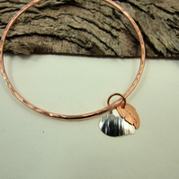 Copper Hammered Bangle Angel Feather and Sterling Silver Heart, Keepsake
