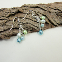 Earrings, Blue and Green Waterfall Pearl and Sterling Silver