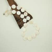 Necklace, Pale Pink Shell and Swarovski® Crystals and Sterling Silver
