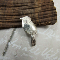 Small Bird Lapel Pin Brooch, Sterling Silver  Pin