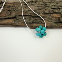 Turquoise Necklace, Sterling Silver and Handwoven Beaded Bead Gemstone Ball