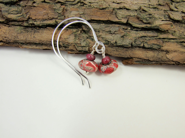 Earrings, Sterling Silver Open Hoop Drop Red Jasper and Ruby Gemstone