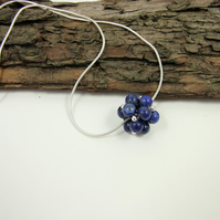 Lapis Lazuli Necklace, Sterling Silver and Handwoven Beaded Bead Gemstone Ball