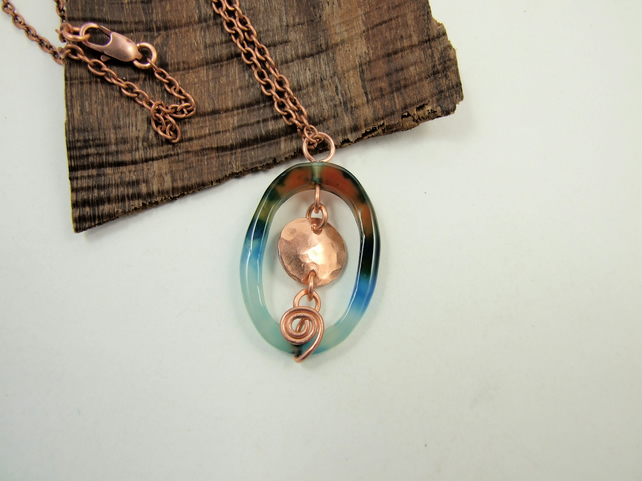 Blue Agate Pendant with Copper. Wire Wrapped Gemstone Necklace with Scrolls