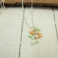 Pearl Waterfall Necklace, Sterling Silver and Pearls, Peach, Blue and Green