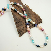 Pearl Necklace, Sterling Silver and Pearls, Summer Colours