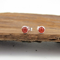 Carnelian Gemstone and Sterling Silver Tiny Stud Earrings