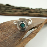Sterling Silver and Turquoise Ring, Adjustable Fit, Freesize