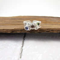 Wide Band Sterling Silver Ring, Peridot, Amber and Tanzanite, Adjustable