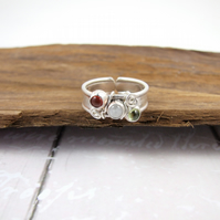 Wide Band Sterling Silver Ring, Peridot, Carnelian and Moonstone, Adjustable