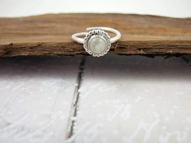 Sterling Silver and Rainbow Moonstone Ring, Adjustable Fit, Freesize