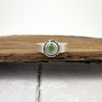 Sterling Silver and Prehnite Ring, Adjustable Fit, Freesize