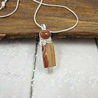 Mookaite and Jasper Necklace, Sterling Silver with Bezel Set Gemstones