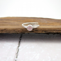 Sterling Silver and Pink Chalcedony Ring, Adjustable Fit, Freesize